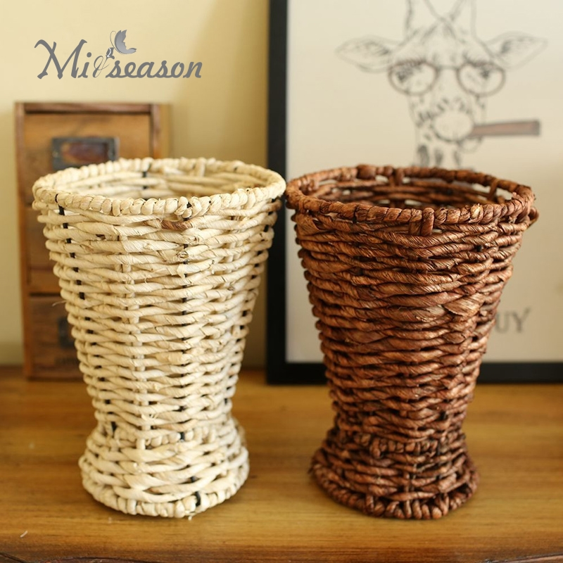 Pastoral Straw Rattan Floral Vase Weaving Artificial <font><b>Flower</b></font> Basket Containers Storage <font><b>Flower</b></font> Arrangment Essential For Home Decor