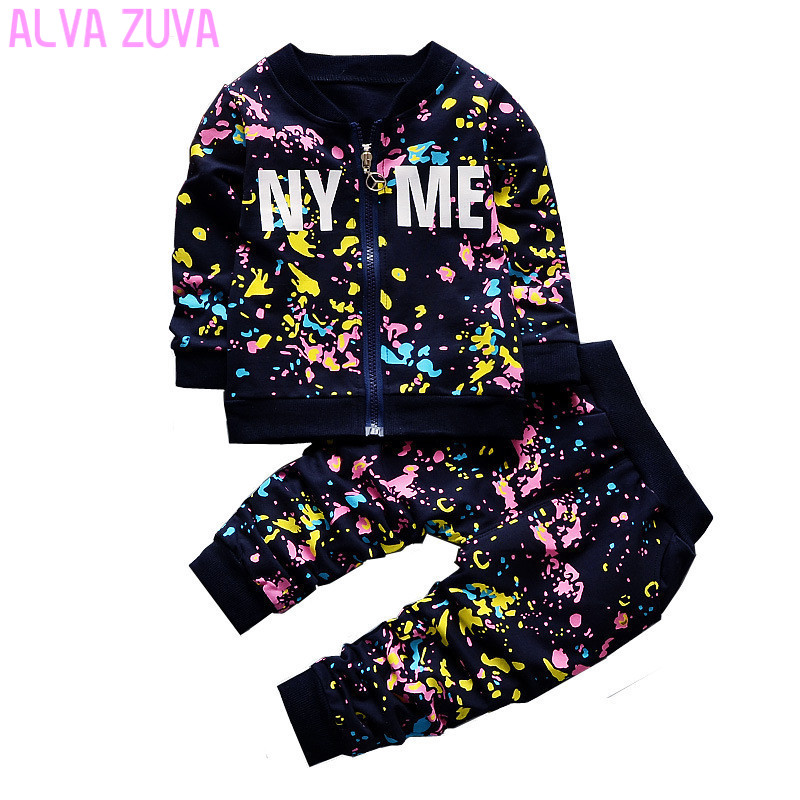ALVA ZUVA New Spring Children Clothing Sets Toddler Baby Boys Girls camouflage Coat+Pants Sporty Suit Kids Tracksuit Cyf057 2016 winter new soft bottom solid color baby shoes for little boys and girls plus velvet warm baby toddler shoes free shipping