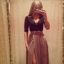 Party Clubwear Women Long Sleeve Maxi Long Side Slit