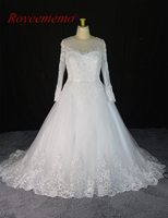 عالية الجودة جديد الرباط كم طويل زائد حجم فستان الزفاف 2017 vestido دي noiva ثوب الزفاف المصنع مباشرة مخصص