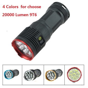 WBS 20000 Lumen 9T6 LCD Display Tactical Led Flashlight 9x Cree XM-L T6 Led Lantern Lamp Torch For Hunting Working 4 Switch Mode
