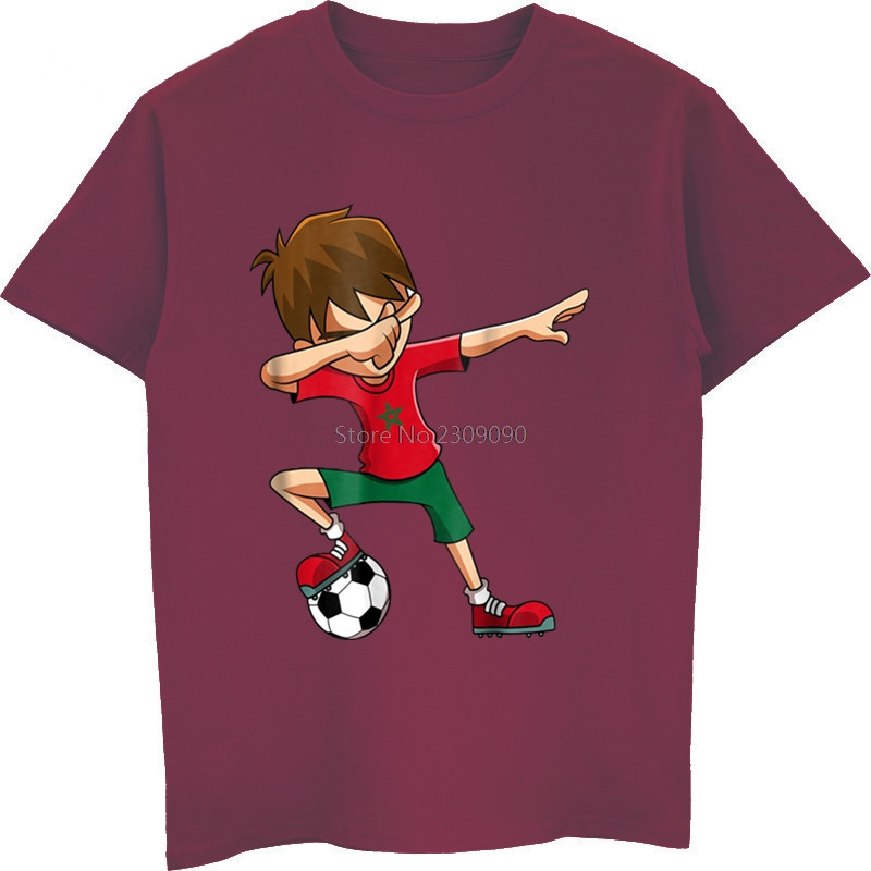 Summer Novelty Cartoon T Shirt Soccers Shirt For Boys Dabbing Morocco Flag Gifts Movie T-Shirt Cotton Tees Tops Harajuku