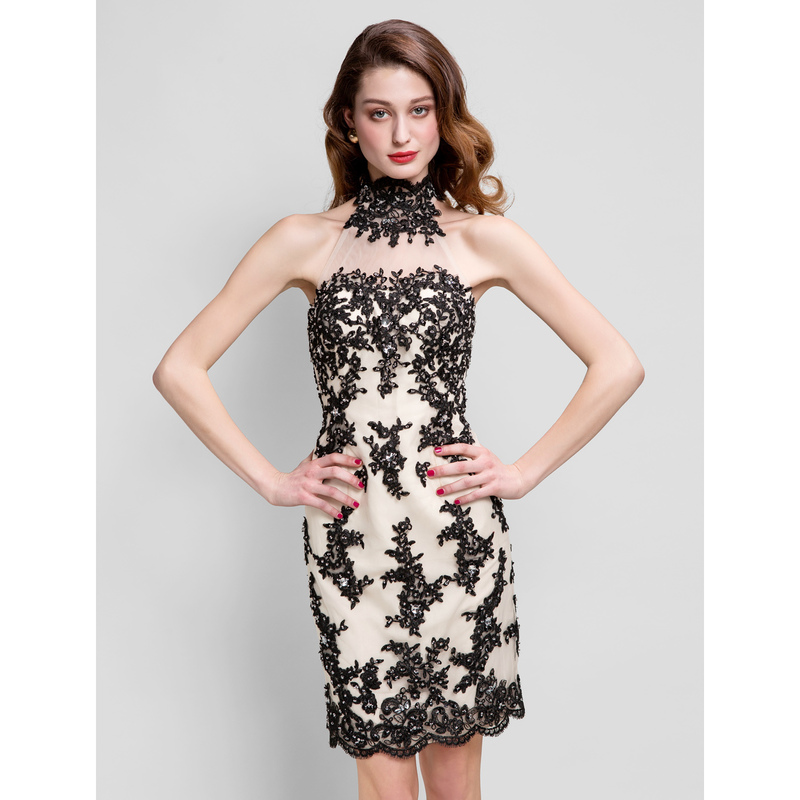 column high neck prom dress