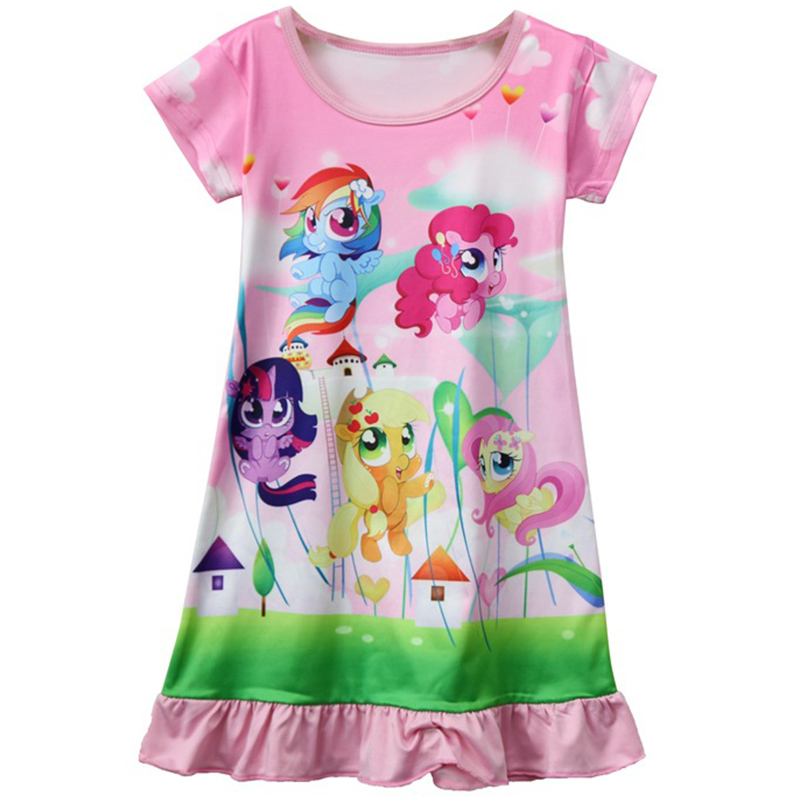 Hot Sale Baby Girls Dresses 2018 Summer Cartoon Pony Printing Princess dress Children's Clothing 2 3 4 5 6 7 years Kids Clothes populous baby kids girls clothes princess black short fashion summer cool solid partytulle dresses 2 3 4 5 6 7 years