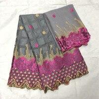 (5+2yds/set )high grade dubai 100%cotton Swiss lace fabric with pretty embroidery plus chiffon blouse lace for wedding E810 21