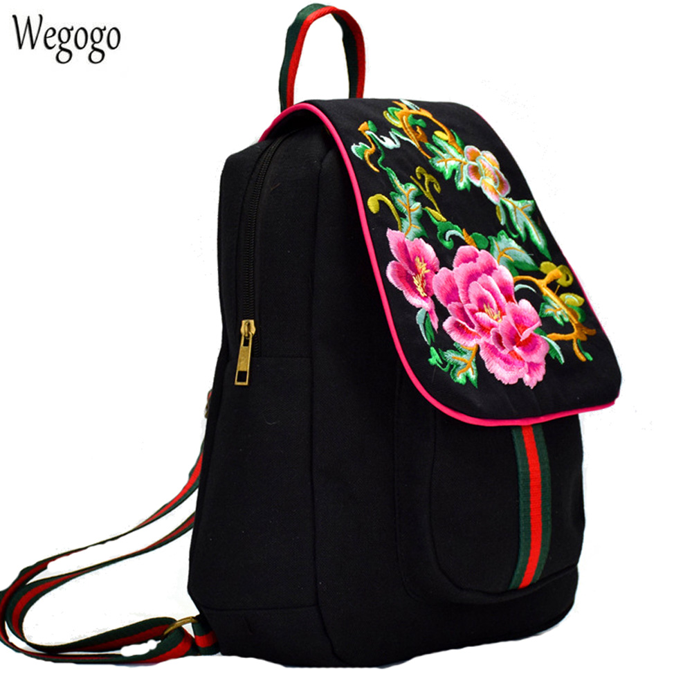 Women Backpack Embroidery Floral Canvas Shoulder Bag Student Bag For Teenagers Black Travel Bags Mochilas Rucksack School Bags 2017 new dc superhero wonder woman laptop backpack bags unisex casual school bags travel shoulder bag for teenagers