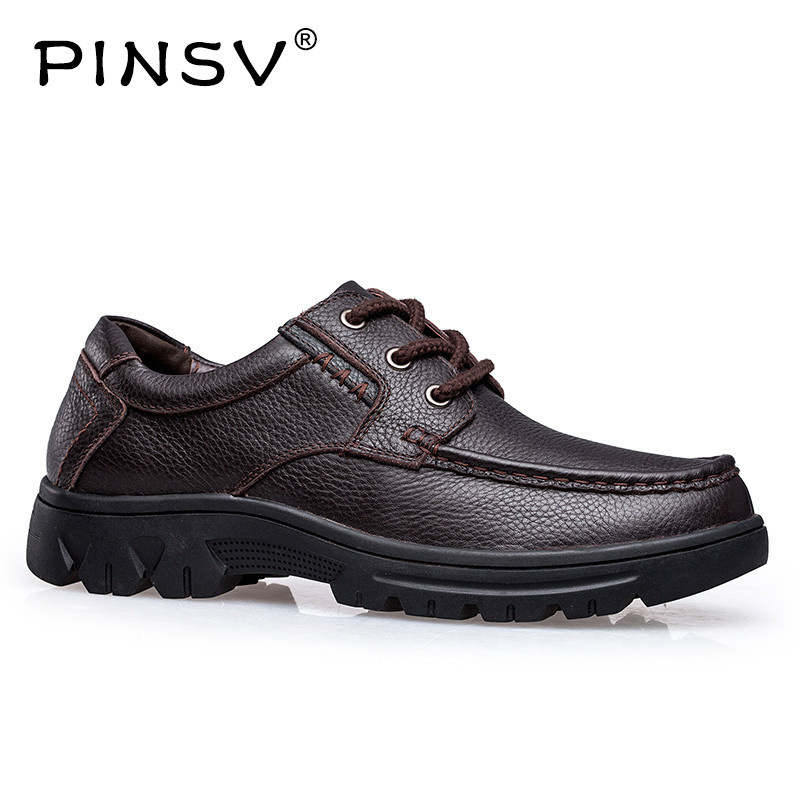 PINSV Shoes Men Casual Man Flats High Quality leather Genuine Mens Shoes Male Genuine Leather Shoes Large Sizes 37-49 genuine leather mens casual sapatos shoes cross straps male runway sandals roman summer shoes flats 2018 man fashion leather