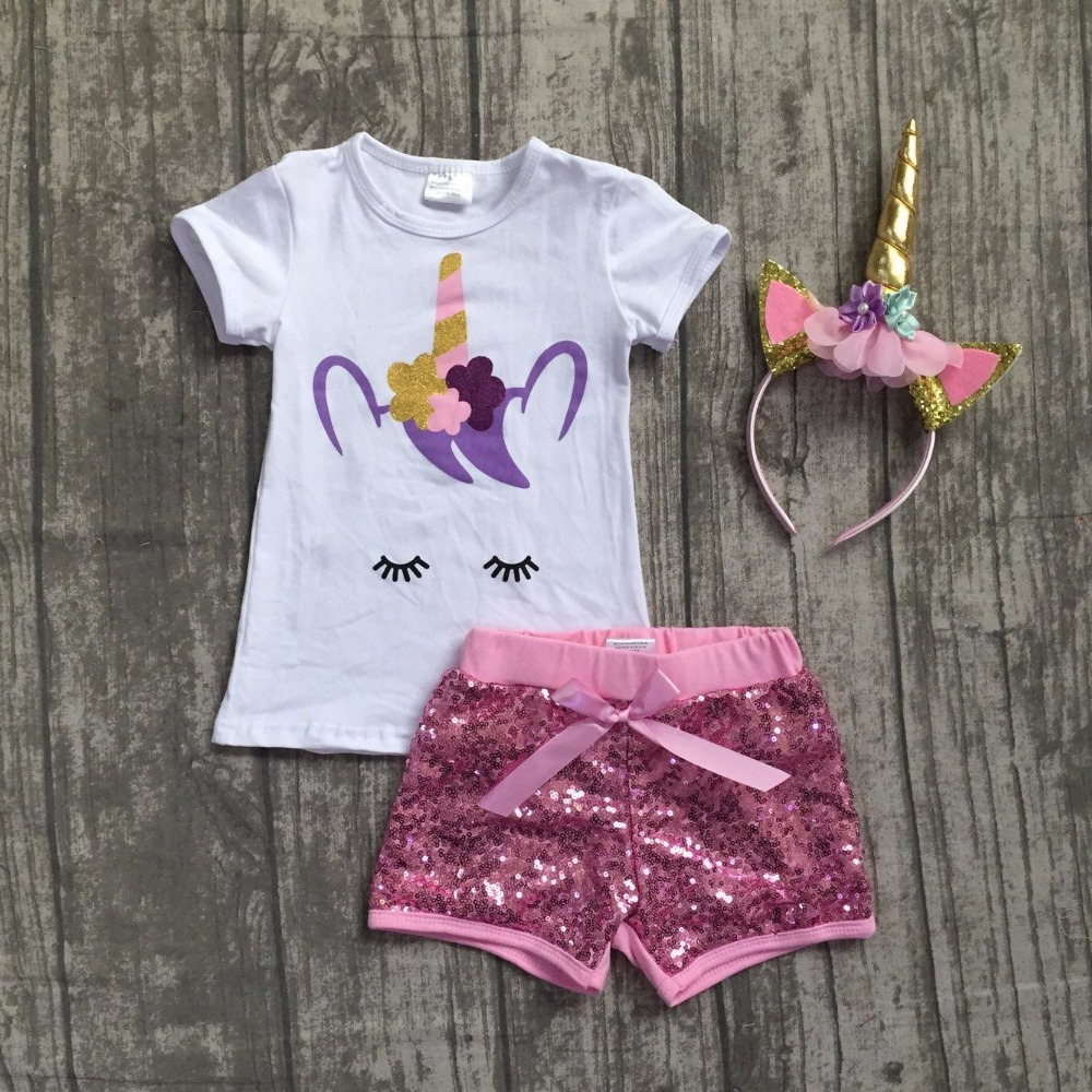 baby girls summer boutique clothing girls unicorn top with pink sequin shorts outfits girls unicorn clothes with match headband 2016 summer baby child girls outfits ruffles shorts white striped watermelon boutique ruffles clothes kids matching headband set