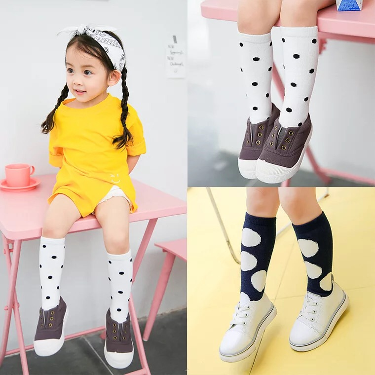 New-autumn-socks-Kids-Long-Socks-Knee-High-toddler-Girls-Boot-Sock-Leg-Warmer-Cute-Dot-Black-baby-Cotton-Sock-for-baby-girls-2