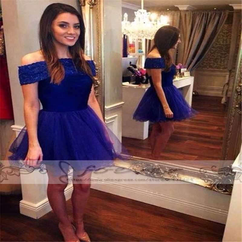Top Quality Royal Blue Boat Neck Short   Prom     Dress   2019 Cap Sleeve Crysral Beaded Party Gown Vestido De Festa Curto Kaftan Custom