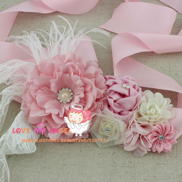 Flower Girl Pink Sash Chiffon Lace Flowers Pearls Belt Feather Belt