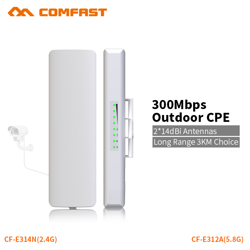 COMFAST 300Mbps Outdoor CPE 5.8G / 2.4G Wifi Bridge 2-5KM Built In Watchdog Chip Extender Receiver CPE 48v POE WIFI Router 1pair