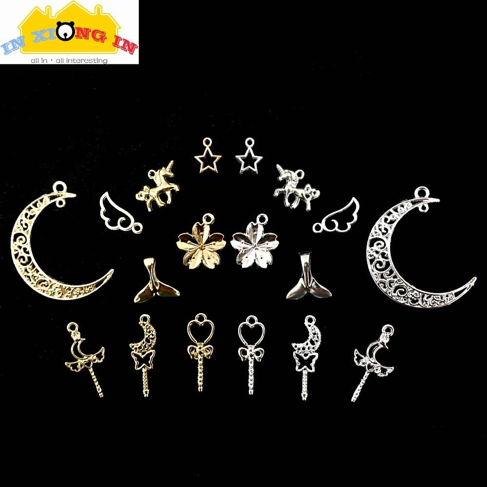 20PCS Mixed Assorted Alloy Silver Mermaid Theme Pendant Charms DIY Accessories