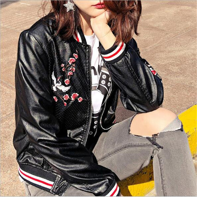 3a6b563040c Embroidery Women Motorcycle Jackets 2018 Autumn flowers Faux Pu Leather  coats zipper Punk Leather Jacket Bomber Biker Jackets US