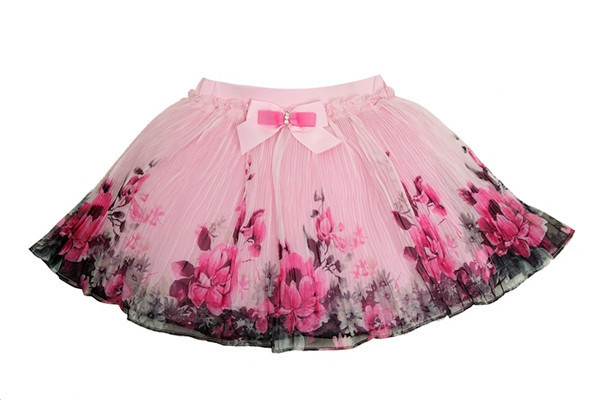 2017 Fashion Summer Kids Clothing For Girls Floral winter Tutu Skirts Chiffon Bow Waist Mini Children party Skirt Size For 2-6