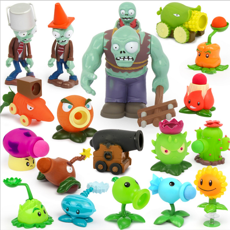 Action Figure Plants VS Zombies Toys For Children PVZ Squeeze Launch Model Plant Vs Zombie Figurine Novelty Gag Toy For  Gift A