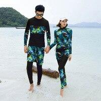 Korean Swimwear For Women Bikini Guard Clothes Surf Wear Plus Size Rash Wetsuit Split Swimsuit Long Sleeve Pants Lovers Suits