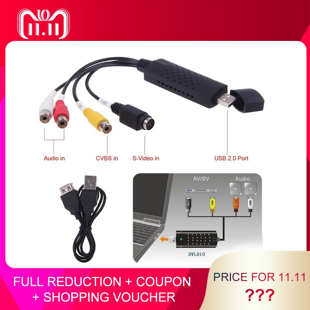 USB 2,0 captura Video Audio convertidor de tarjeta PC Adaptador convertidor Digital VHS a DVD vídeo dispositivos para Windows Mac iMac PC