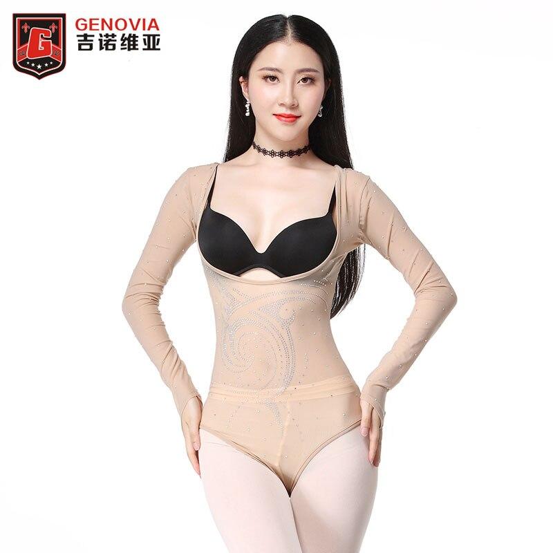 Women Belly Dance Leotard Dancewear Long Sleeve Top Ballet Dancing Gymnastics Bodysuit Diamonds Drilling Glitter Bottoming Shirt
