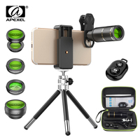 APEXEL 5in1 Phone Lenses Kit with Box 16x HD Fisheye Wide Angle Mobile Phone Camera Lens Tripod for Samsung Huawei Smartphones
