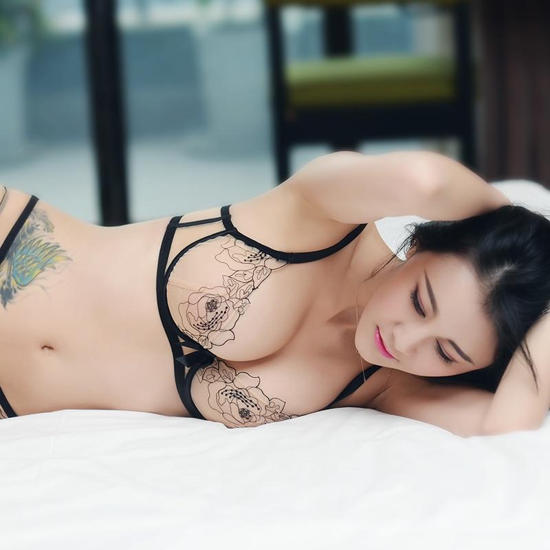 Super fina e transparente cueca sutiã tamanho grande bordado malha conforto atrai grande seios mostram pequeno sutiã