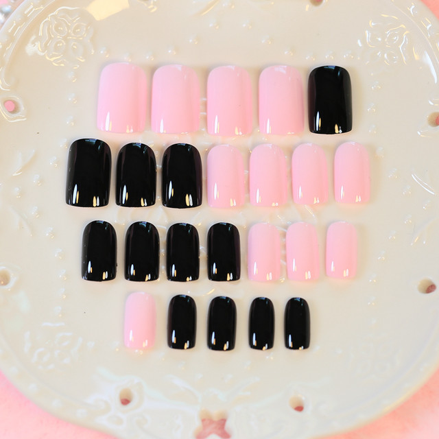 Online Shop Cute Black Pink Long Nail Tips with Pattern 24pcs Oval ...