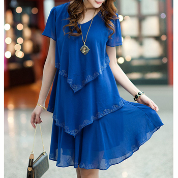 5XL Plus Size Women Clothing 2018 Chiffon Dress Summer Dresses Party Short Sleeve Casual Vestido De Festa Blue Black Robe Femme 2