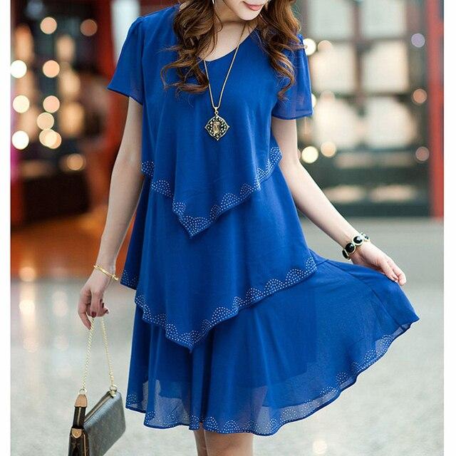 5XL Plus Size Women Clothing 2018 Chiffon Dress Summer Dresses Party Short Sleeve Casual Vestido De Festa Blue Black Robe Femme 2