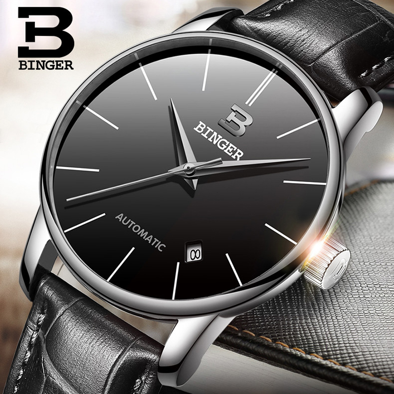 BINGER Luxury Men Classic Date automatic Mechanical Watch Self-Winding Skeleton Black Leather/Stainless Steel Strap Wristwatches winner luxury men classic date automatic mechanical watch self winding skeleton black leather stainless steel strap wrist watch