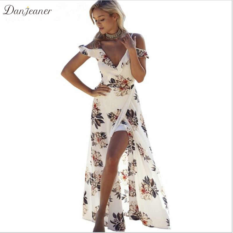 Danjeaner Stampa Floreale Delle Increspature Abiti In Chiffon Maxi Strap Scollo A V Split Beach Summer Dress Backless Sexy Delle Donne Vestito Lungo Vestido