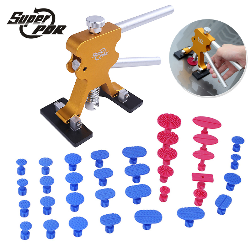 PDR Paintless dent repair tools kit car body dent removal tool gold dent puller with dent glue tabs for Car Hail Damage repair removal glue dent dent tools paintless pdr lifter hail puller car repair