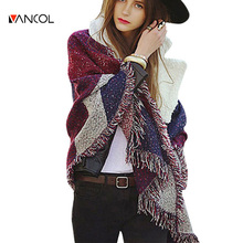 2015 New Arrival Fall Fashion 190X65CM Luxury Designer Brand Vintage Oversized Thick Warm Tassels Winter Black