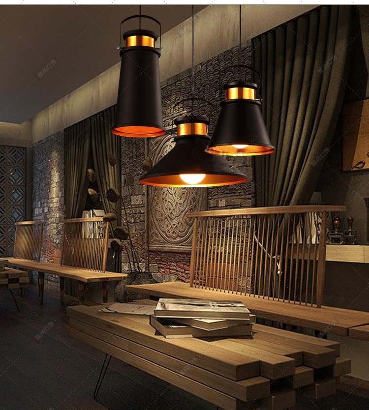 lamps Vintage Black Industrial restaurant pendant light creative personality simple art bar single head Iron lamp