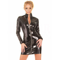 Women Faux Leather PVC Club Dress Long Sleeve latex Bodycon Party Lingerie Dresses Club Outfits Costumes w6177