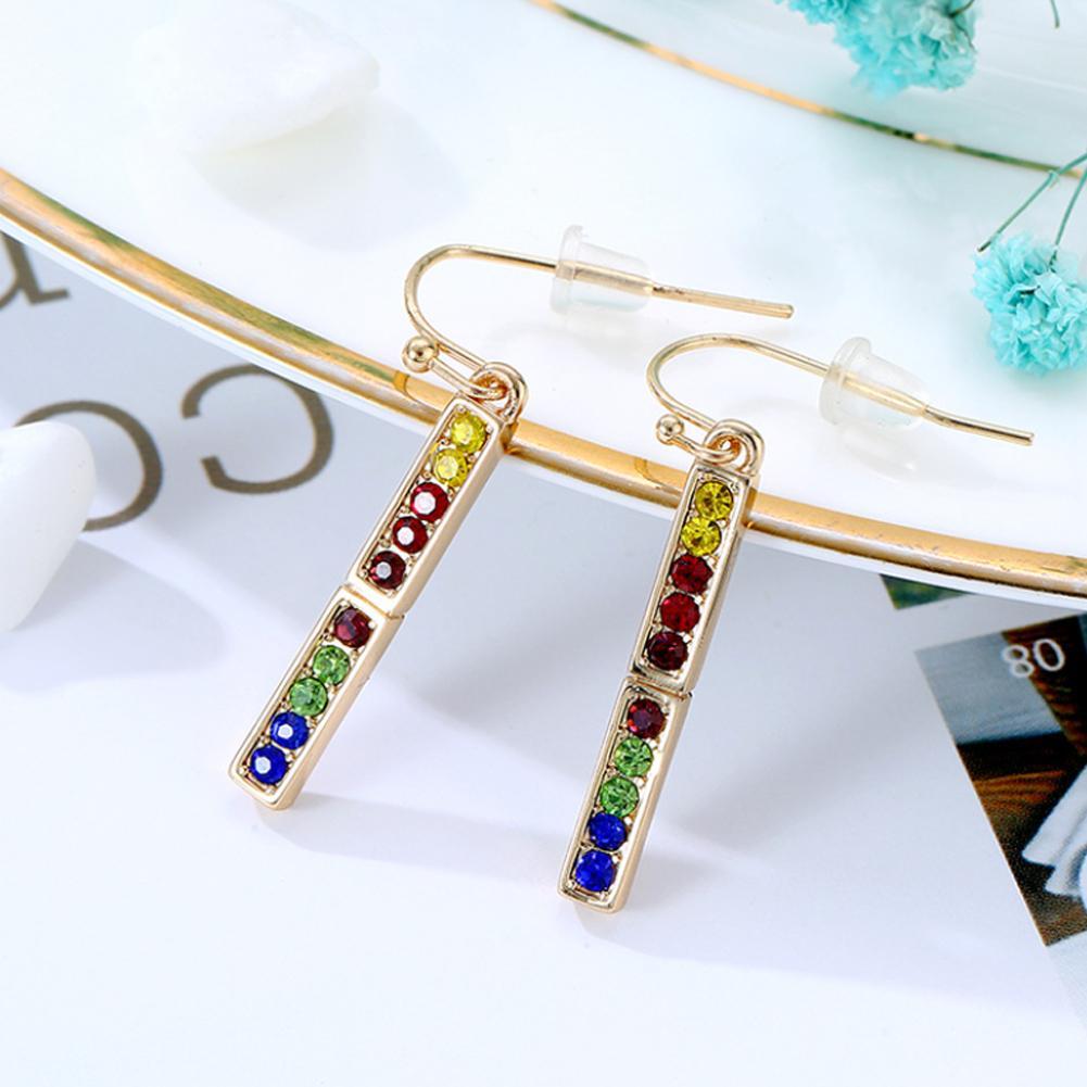 Spring Long Colorful Diamond Earrings Fashion Dangler Eardrop Drop Earrings Jewelry Accessories For Women in Drop Earrings from Jewelry Accessories