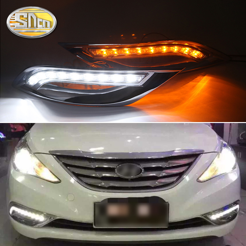 For Hyundai Sonata YF 2011 2012 2013 2014 Turn Yellow Signal Function 12V Car DRL Lamp