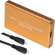 10Gb/s USB 3.1 Type-C to mSATA SSD Enclosure USB-C to mini SATA Hard Disk adapter External HDD Mobile Box