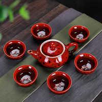 7pcs Tea Sets Exquisite celadon tea set Include 6 cups 1 tea pot,Jingdezhen Brand Exquisite Set Kung Fu Tea Cup Unique gift