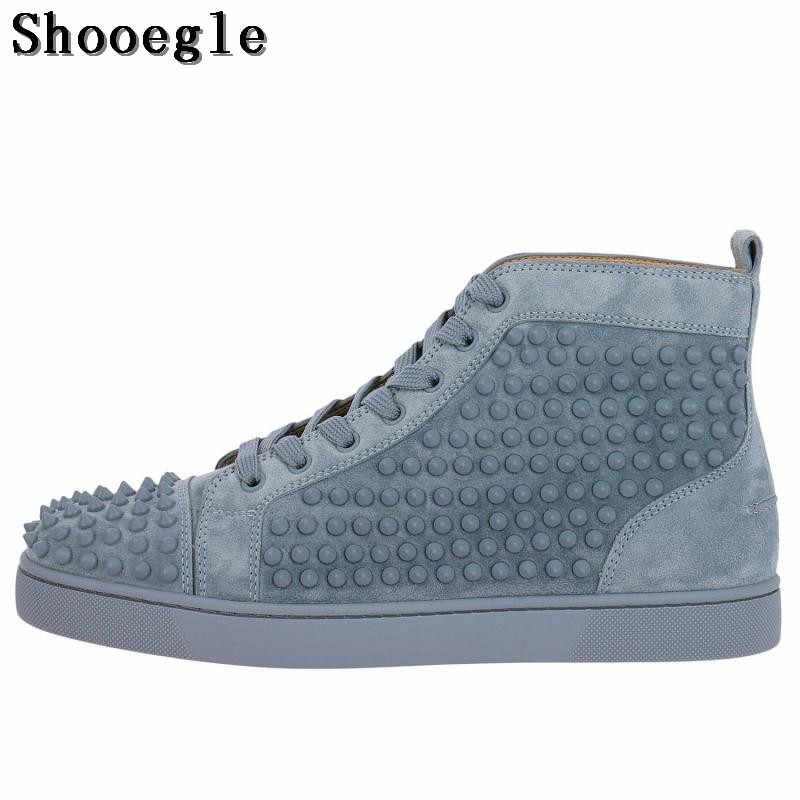 SHOOEGLE Fashion Chaussure Homme Men Suede Spike Stylish Sneakers High-top  Men Shoes Platform Rivets 4f0b7314bc9f