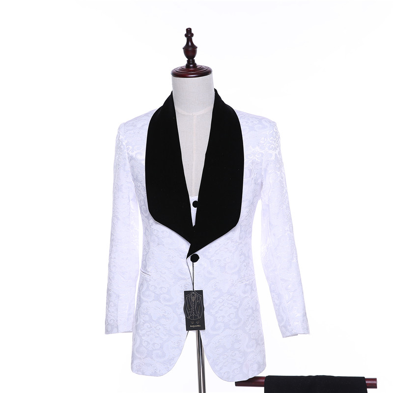 New Mens Casual Jacket Blazers White Flora Pattern Slim Wedding Tuxedo Business Formal Prom Coat Two Button Black Velvet Lapel