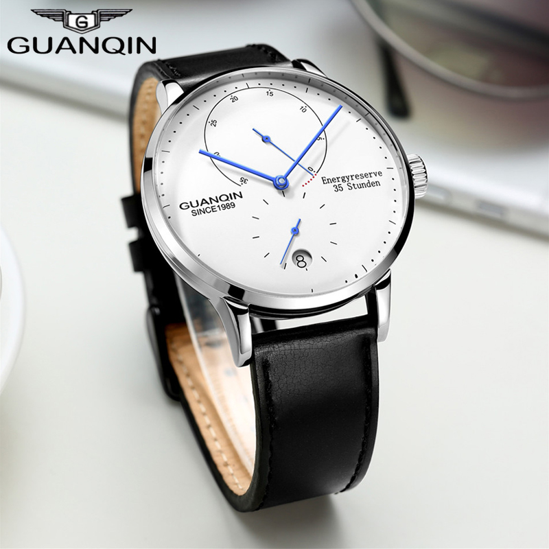 GUANQIN Fashion Clock Men Watch Top Brand Luxury Mechanical watches Rose Gold Male Sport Watches Reloj