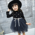 Elegant Girl Dress Girls 2016 autumn Fashion black dot Party Tulle tutu dresses bow Princess Wedding Dresses Girl dress HB1066
