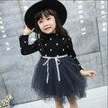 Elegante Vestido de Niña de las Niñas 2016 otoño Moda negro dot Party Tulle vestidos del tutú del arco Vestidos de Boda de La Princesa vestido de La Muchacha HB1066