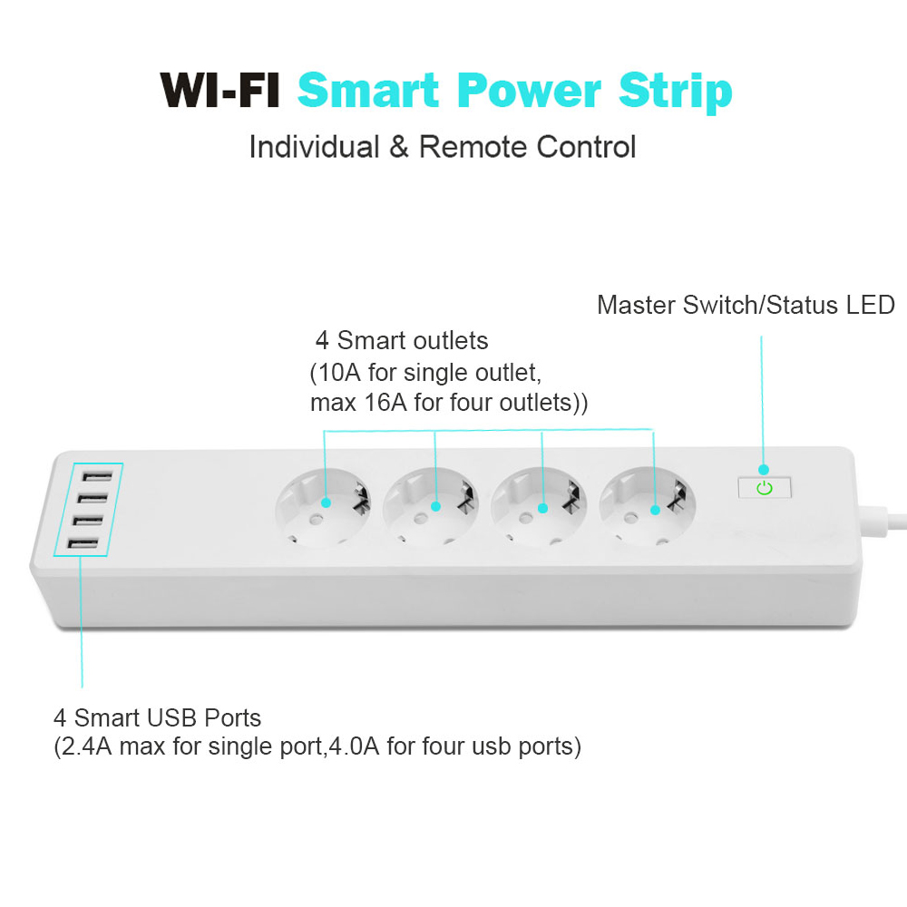 Image 2 - Wifi Smart Power Strip 4 EU Outlets Plug with 4 USBCharging Port Timing App Voice Control Work with Alexa Google Home Assistant-in Smart Power Socket Plug from Consumer Electronics