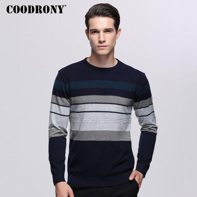 € 19.02 45% de réduction|COODRONY hommes chandails pour 2018 automne hiver tricoté laine chandail décontracté o cou Pull Homme cachemire Pull hommes