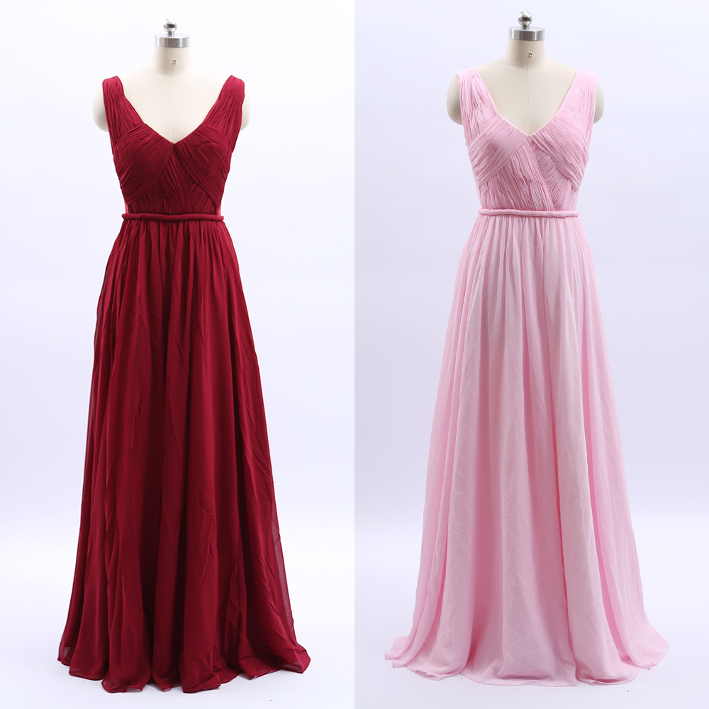 MACloth Wine Red A-Line V Neck Floor-Length Long Chiffon   Prom     Dresses     Dress   XS 264750 Clearance