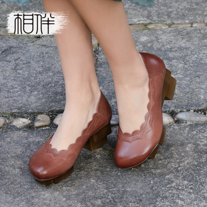 2017 genuine leather square heel pumps medium heel platform shoes women handmade casual shoes red coffee selens pro 100x100mm 12nd square medium
