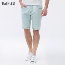 Markless Denim Shorts for Men Summer Autumn Male Light Blue Shorts Breathable Anti-sensitive Man Short Pants Fashion Hot