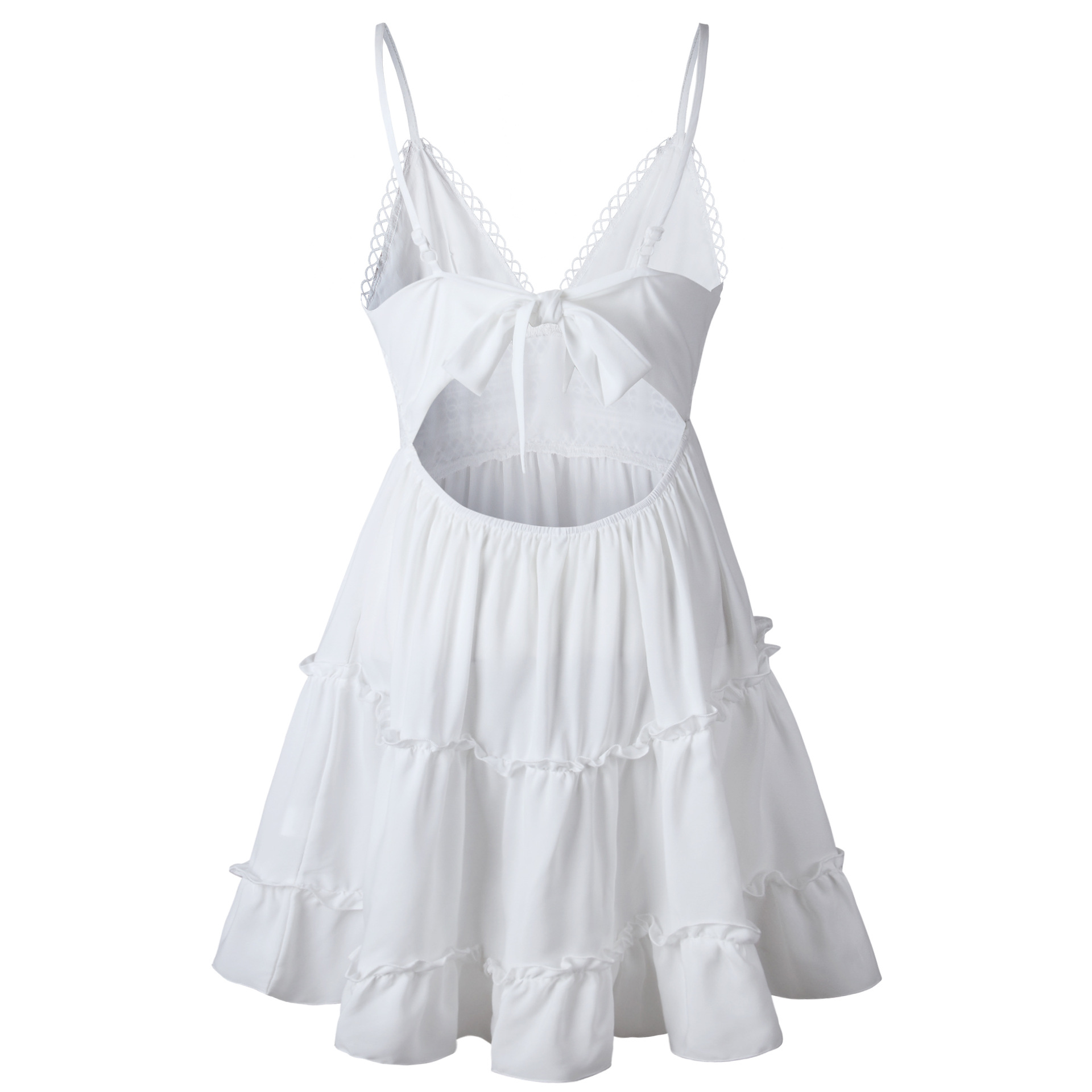 b75c0a822d7a Summer Women Lace Dress Sexy Backless V neck Beach Dresses 2019 Fashion  Sleeveless Spaghetti Strap White Casual Mini Sundress-in Dresses from  Women's ...