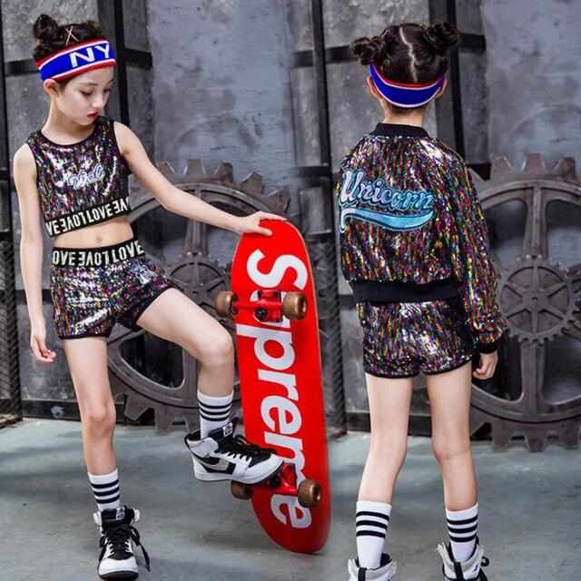 fae6cabdc ... niños trajes de actuación ropa baile escenario. 3 Piecs Set Girls  Competition Sequins Ballroom Jazz Hip Hop Dance Kid Performance Costumes  Stage Wear